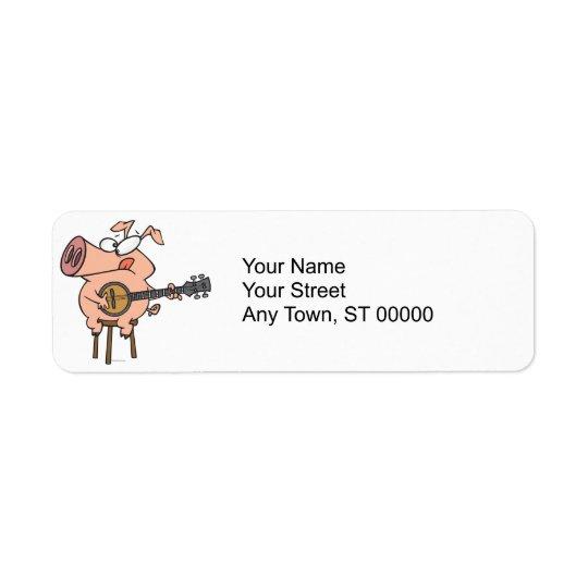 funny pig playing a banjo cartoon character