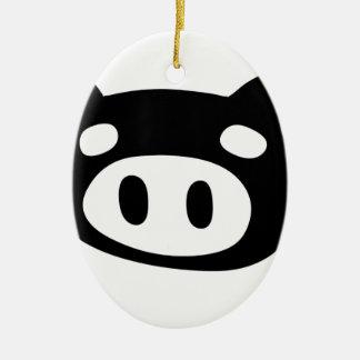 Funny Pig Shape Ceramic Oval Ornament