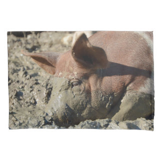 Funny Pig Taking A Mud Bath Pillowcase