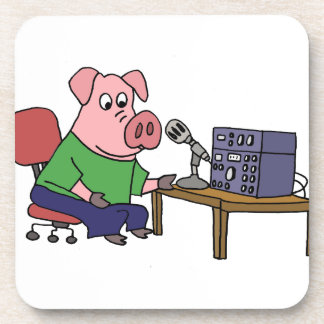 Funny Pig Using Ham Radio Drink Coaster