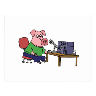 Funny Pig Using Ham Radio Postcard