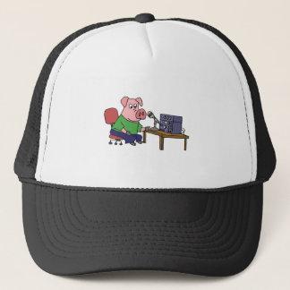 Funny Pig Using Ham Radio Trucker Hat