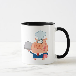 funny piggy pig waiter wearing chefs hat mug
