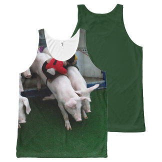 Funny pigs race All-Over-Print tank top