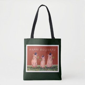 Funny Pigs Wearing Top Hats Holiday Bag