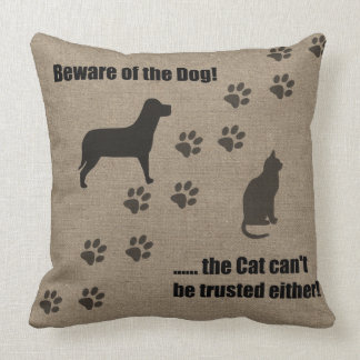 Funny Pillow Beware of the Dog