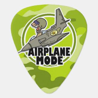 Funny Pilot; bright green camo, camouflage Guitar Pick