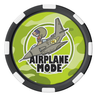 Funny Pilot; bright green camo, camouflage Poker Chips Set