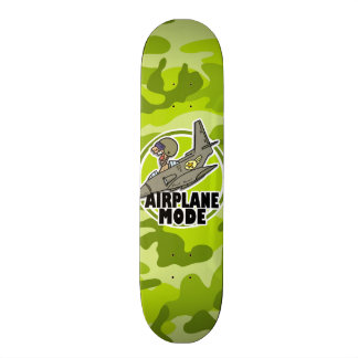 Funny Pilot bright green camo camouflage Skateboard Decks