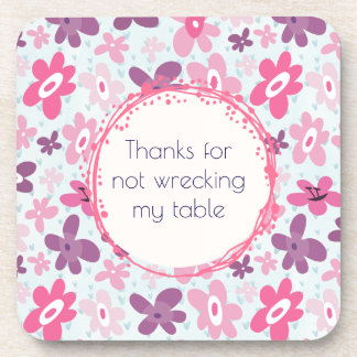 Funny Pink and Purple Retro Flower Pattern Coaster
