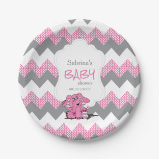 Funny Pink Chevron Silly Cute Baby Elephant Paper Plate