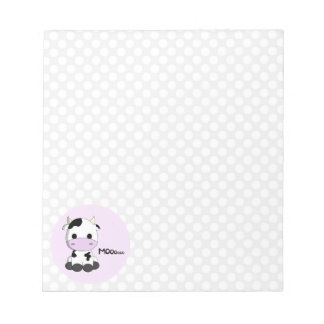Funny pink cute girly cow cartoon girls notepad