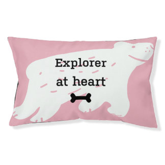 "Funny pink dog bed ""Explorer at heart"""
