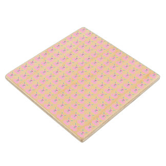 Funny Pink Easter Bunnies Wood Coaster