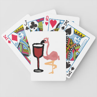 Funny Pink Flamingo Drinking Red Wine Bicycle Playing Cards