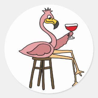 Funny Pink Flamingo Drinking Red Wine Round Sticker