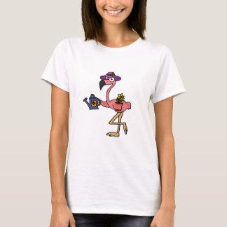 Funny Pink Flamingo Gardening Design T-Shirt