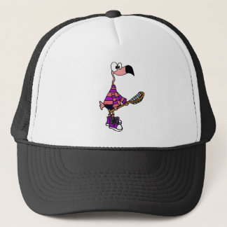 Funny Pink Flamingo Lacrosse Art Trucker Hat