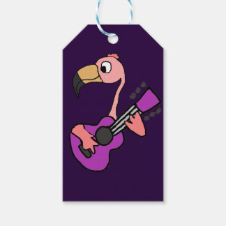 Funny Pink Flamingo Playing Purple Guitar Gift Tags