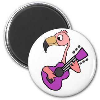 Funny Pink Flamingo Playing Purple Guitar Magnet