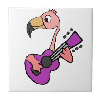 Funny Pink Flamingo Playing Purple Guitar Tile