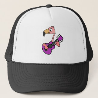 Funny Pink Flamingo Playing Purple Guitar Trucker Hat