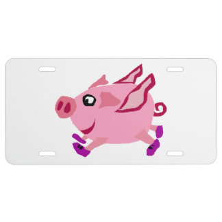 Funny Pink Flying Pig Cartoon License Plate