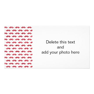 Funny Pink Glitter Mustache Pattern Printed Photo Cards
