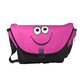 Funny pink happy cartoon smiley face messenger bag