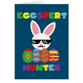 Funny Pink Hopping Easter Bunny for Egg Hunters Card
