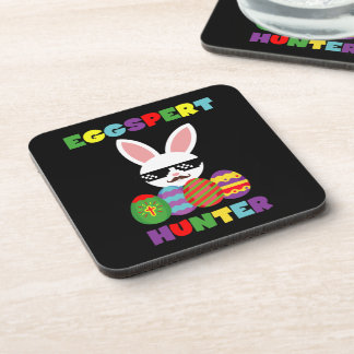 Funny Pink Hopping Easter Bunny for Egg Hunters Coaster