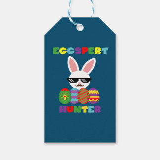 Funny Pink Hopping Easter Bunny for Egg Hunters Gift Tags