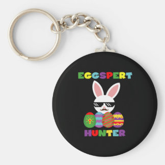 Funny Pink Hopping Easter Bunny for Egg Hunters Keychain