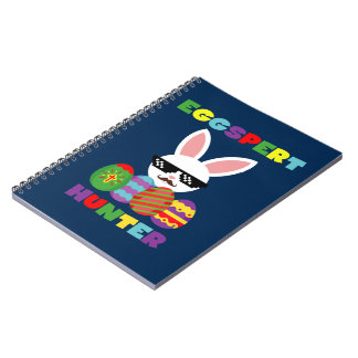 Funny Pink Hopping Easter Bunny for Egg Hunters Notebooks