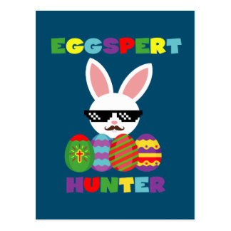 Funny Pink Hopping Easter Bunny for Egg Hunters Postcard