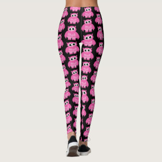 Funny pink owl cartoon pattern workout leggings