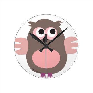 Funny pink owl wall clocks