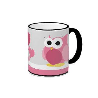 Funny Pink Owl with Hearts - mug