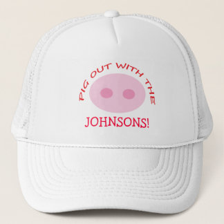 Funny Pink Pig Nose Reunion BBQ Chef Hat with Name