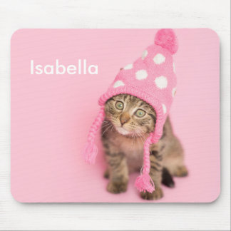 Funny Pink Snow Hat kitten Mouse Pad