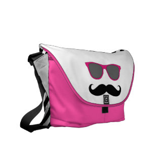 Funny Pink Sunglasses with Mustache Courier Bag