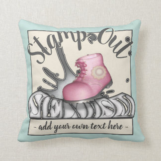 Funny Pink Workboot Stamp Out Sexism Throw Pillow