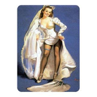Funny pinup bride lingerie shower card
