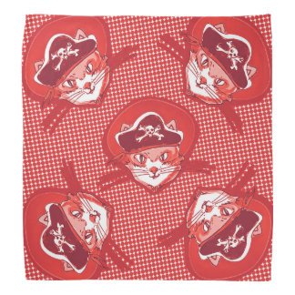 funny pirate cat cartoon halftone dot bandanna