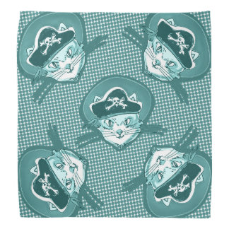 funny pirate cat cartoon halftone dot bandannas