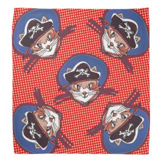 funny pirate cat cartoon halftone dot kerchiefs