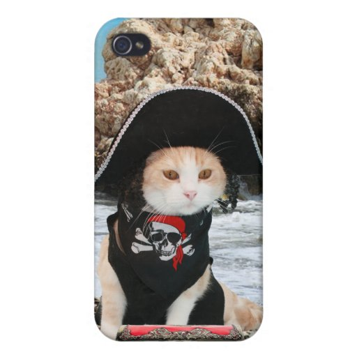 Funny Pirate Cat/Kitty Case For iPhone 4