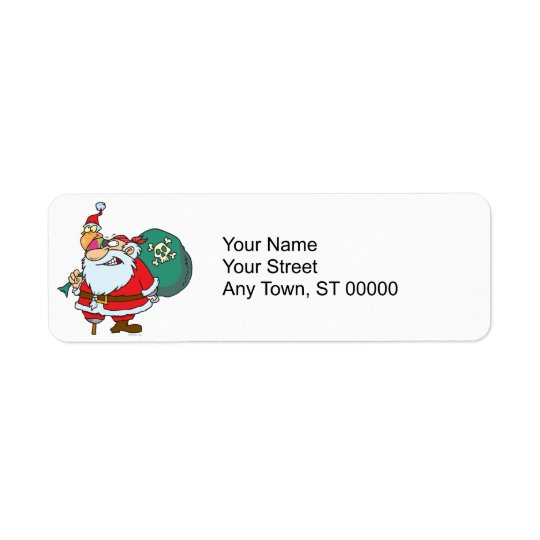 funny pirate santa and xmas parrot cartoon return address label