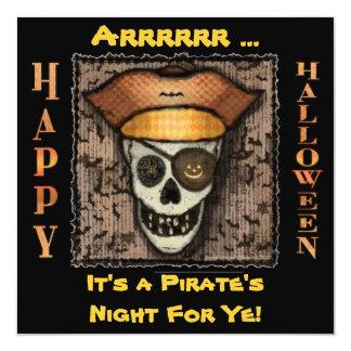 Funny Pirate Skull Halloween Party Invitation