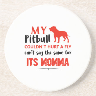 Funny Pit-bull Mommy designs Beverage Coaster